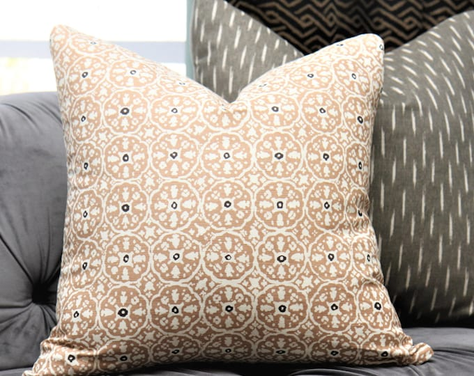 Tan and Off White Geometric Pillow - Neutral Printed Geometric Pillow Cover- Nitik II Camel - Boho Chic Home Decor