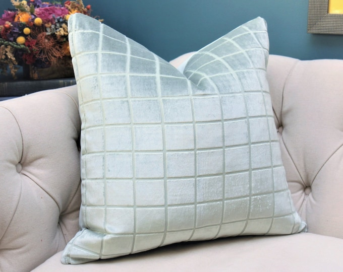SALE 35.00 - Sea Foam Green Blue Velvet Pillow Cover - Sea Glass Cut Velvet - Motif Pillows - Soft Light Blue Green Blue Velvet Pillow Cover