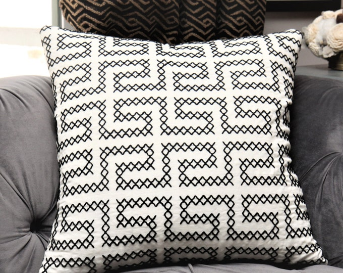 Schumacher Pillow Cover - A Maze Embroidered Black and Off White Geometric Pillow Cover - Woven Greek Key Black Pillow Cover