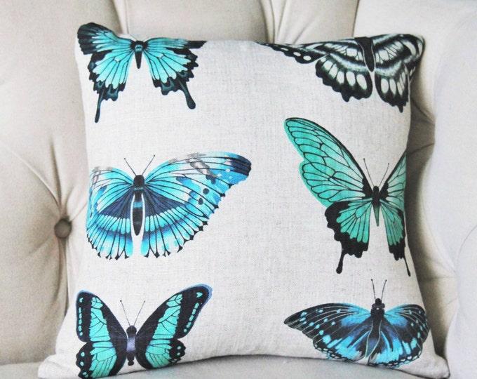 Butterfly Pillow Cover - Aqua Blue Green Black Pillow Cover - Natural Linen - Botanical Home Decor - Blue Home Decor