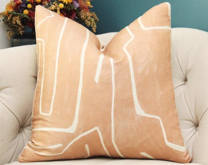 Kelly Wearstler Graffito Pillow Cover - Salmon and Creme Modern - Designer Geometric Pillow Cover - Lee Jofa - Groundworks Flesh Tone