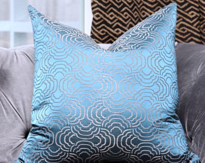 Schumacher Pillow Cover - Blue Metallic Geometric Pillow Cover