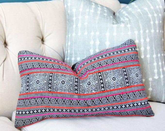 Sale 35.00 - Hmong Pillow Cover - Black Pink Orange White - Black Boho Tribal Global Ethnic - Bohemian Decor
