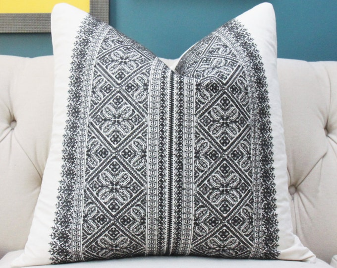 Designer Geometric Pillow - Black Embroidered Pillow Cover - Black and White Pillow Cover - Schumacher - Designer Pillow