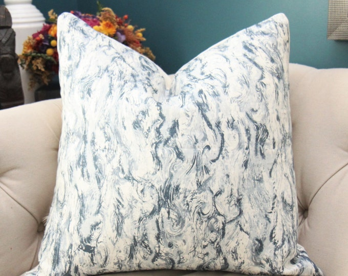 Zak and Fox Pillow Cover - Kaze in West Blue Pillow Cover - Geometric Throw - Modern Blue Brush Stroke Pillow - Blue and Off White