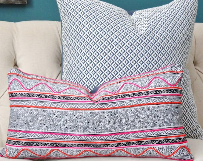 Hmong Pillow Cover - Indigo Blue White - Boho Pillow Cover - Tribal Global Ethnic - Bohomeian Decor - Pink & Orange Embelished Pillow