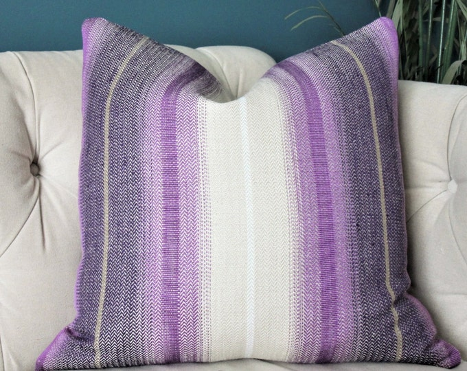 Osborne & Little Tabriz Pillow Cover - Herringbone Stripe Purple Black Taupe and White Pillow Cover -Woven Bohemian Pillow Cover