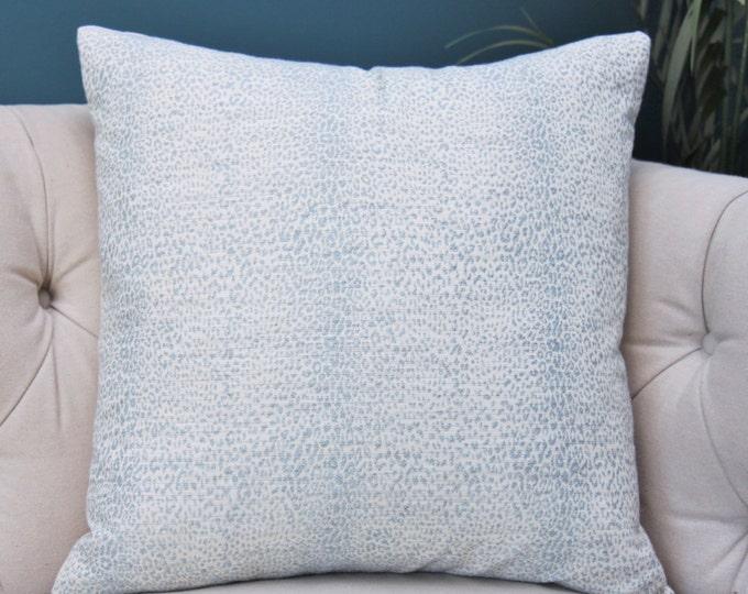 Blue Animal Print Designer Pillow Cover - Light Blue & Ivory - Modern Baby Blue Pillow - Schumacher Animal Print - Motif Pillows