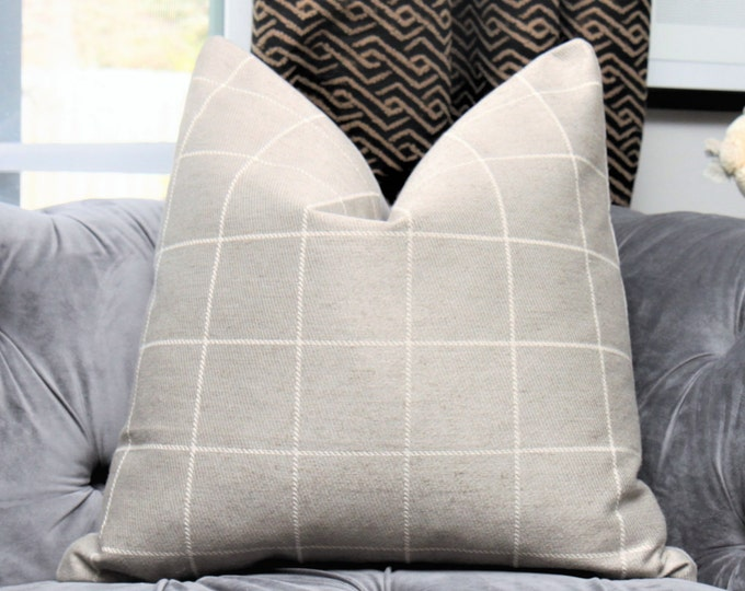 Pewter Gray Pillow Cover - Medium Grey Check Throw Pillow - Plaid Pillow - Gray and Ivory Designer Pillow