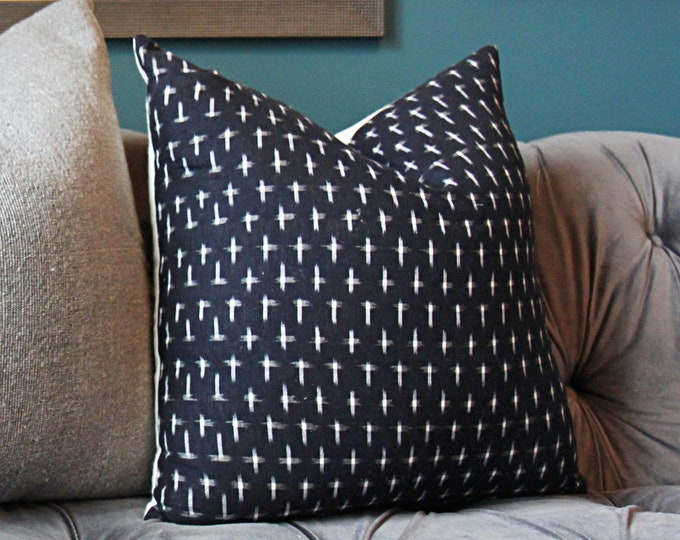 Karuso in Night Pillow Cover -Kufri Life Ikat - Black and White Pillow Cover