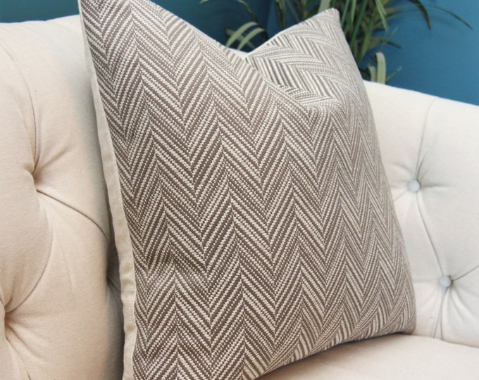 Schumacher Pillow Cover - Brown & Light Ash Gray - Bark - Designer Brown Grey Pillow Cover - Motif Pillow - Chocolate Brown