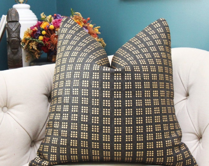 Kelly Wearstler Black and Gold Geometric Paradox Pillow Cover - Modern Black Block Print Pillow Cover - Gold Dot Pillow Cover