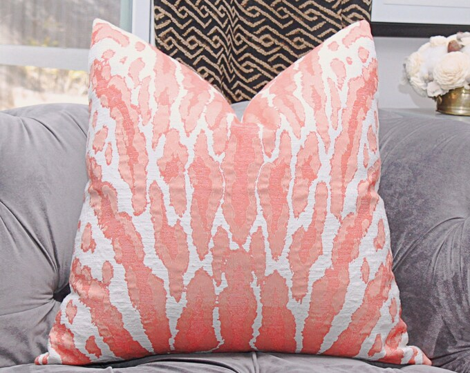 Sale 42.00  Coral Animal Print Pink Woven Large Scale Pillow Cover - Coral Animal Throw Pillow - Motif Pillows