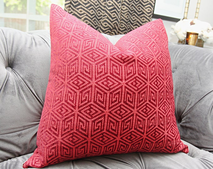 Schumacher Pillow Cover - Raspberry Red and Burgundy Geometric Pillow - Greek Key Pillow Cover - Throw Pillow - Bohemian Decor - Mid Century