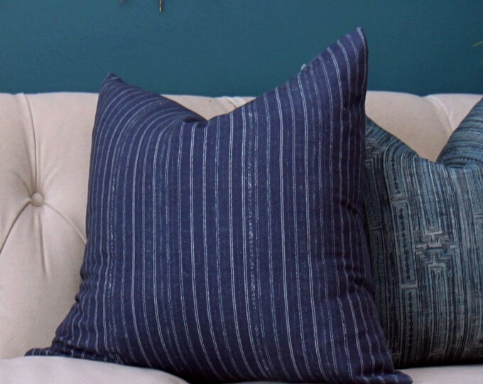 Blue and White Striped Pillow Cover - Modern Indigo Blue Pillow Cover- Blue Organic Cotton Pillow Cover - Motif Pillows - Dark Blue Decor