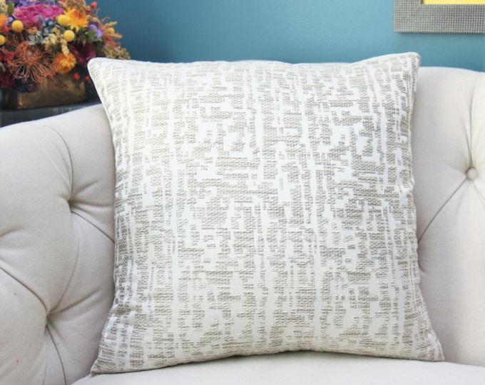 Oyster Ivory Light Greige Woven Modern Designer Pillow Cover - Soft Light Gray Geometric Pillow Cover - Romo - Throw