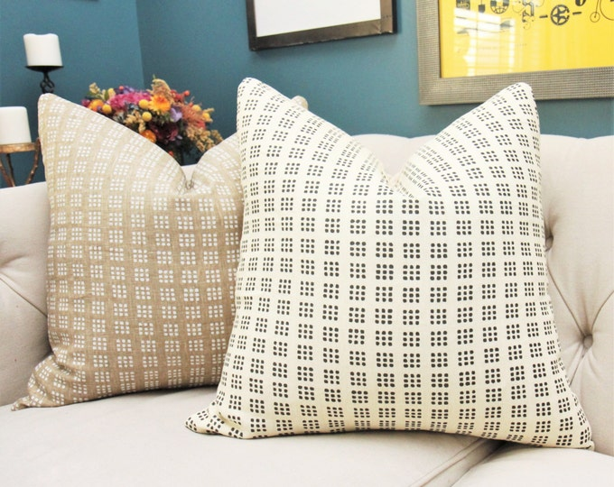 Kelly Wearstler Creme and Black Geometric Paradox Pillow Cover - Modern Creme Ivory Block Print Pillow Cover -Neutral Dot Pillow Cover