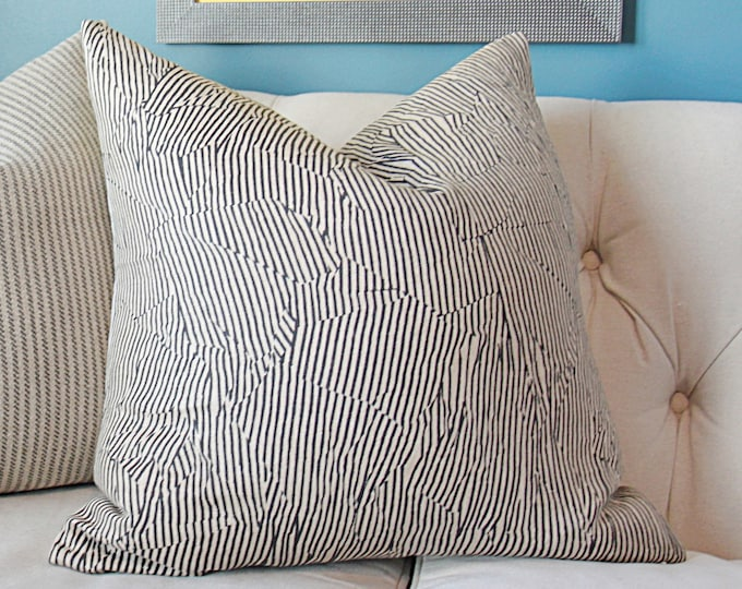Kelly Wearstler - Avant in Linen and Black Pillow Cover - Modern Geometric Pillow Cover - Designer Linen Fabric - Beige and Black