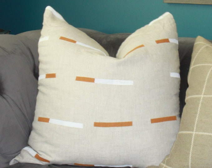 Overlapping Dashes Pillow Cover - Schumacher - Painter Cognac and White Stripes on a Gregory linen back