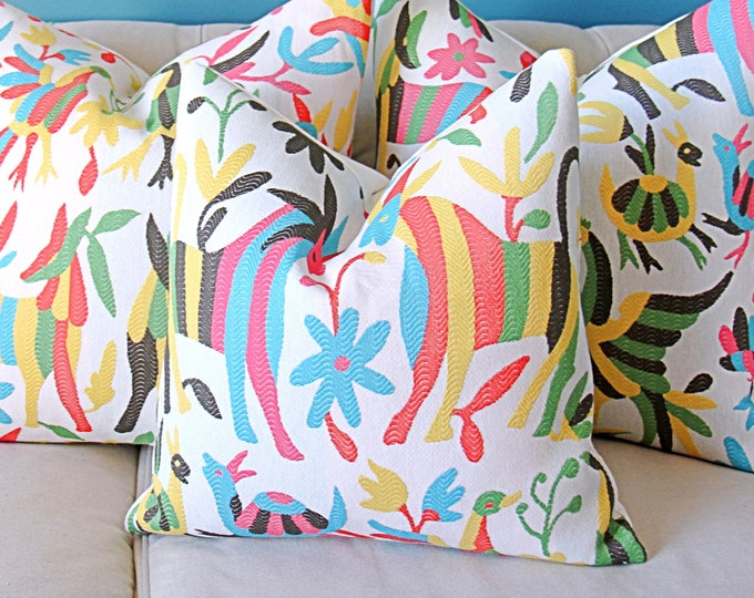 Otomi Pillow Cover - Colorful Home Decor - HORSE Animal Version - Red Pink Yellow Aqua Blue Green Black and Off White Cushion