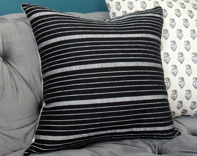 Cusco Stripe in Black - Kufri Life Ikat - Woven Black and White Pillow Cover