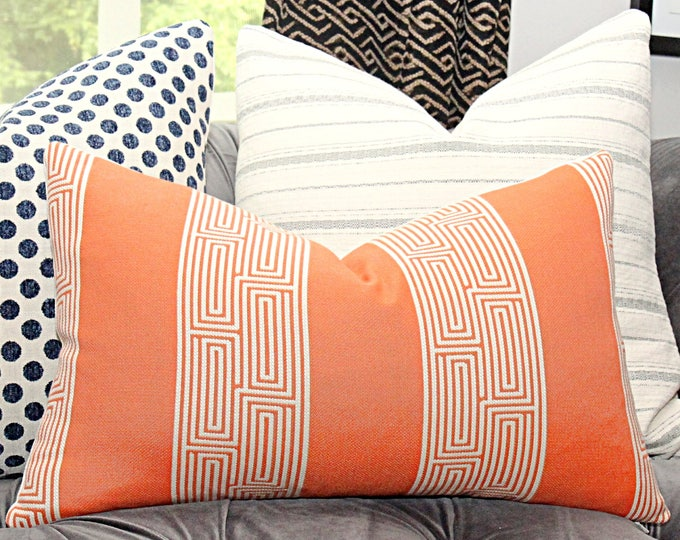 Sale - Orange and Ivory Greek Key Pillow Cover - Orange Stripped Pillow Cover - Lumbar Pillow Cover