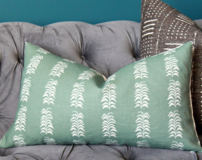Heather Chadduck Petite Frond Pillow Cover in Ocean - Dark Green Fern Pillow Cover - Linen Green Pillow Cover