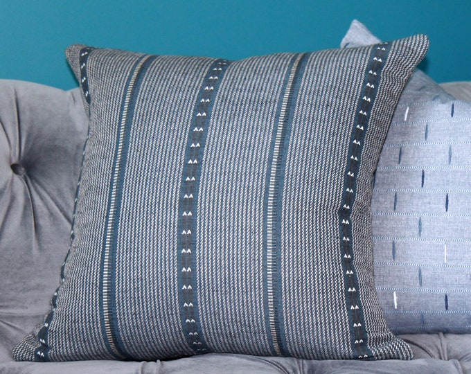 Zak and Fox Poncho in Tambo Pillow Cover - Dark Blue Stripe Throw - Modern Graphic Designer Cushion