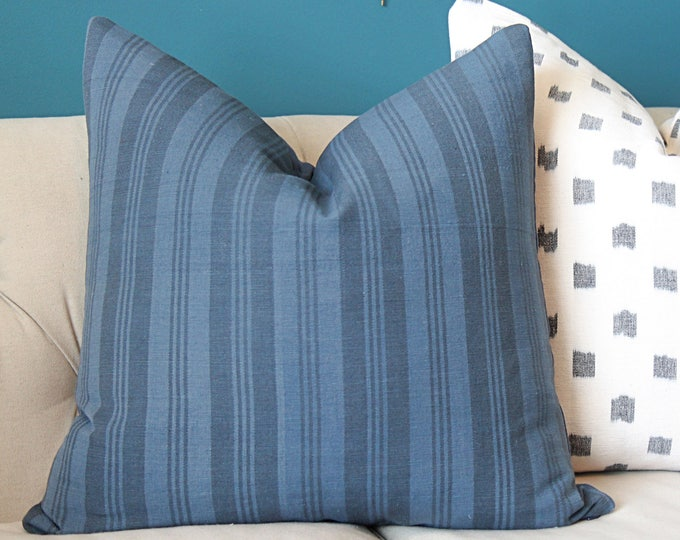 Blue and Black Woven Stripe Pillow Cover - Modern Geometric Indigo Blue Pillow Cover