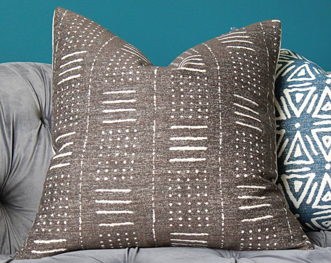 Brown Grey Boho pillow cover - BROWN with Grey undertones - Brown and Ivory Ethnic Pillow Cover
