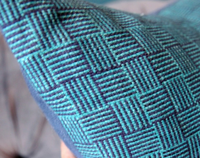 Kufri Life Poole in Marina- Teal & Navy Blue Woven Geometric Pillow Cover - Basket Weave - Blue Pillow Cover