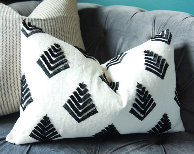 Ivory Linen with Black Fringe Pillow Cover - NOT WHITE