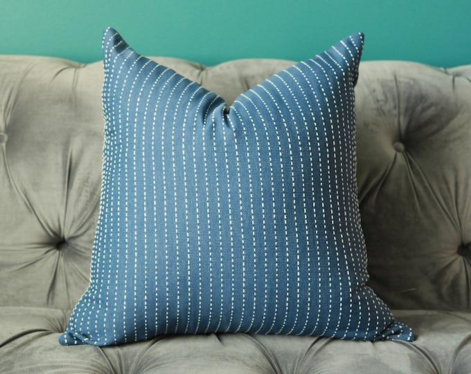 Dark Blue Striped Pillow Cover - Designer Pillow Cover