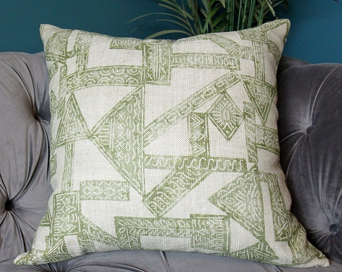 Zak and Fox Pillow Cover - Pazuru in Matcha  - Designer Pillow Cover - Green Geometric - Boho