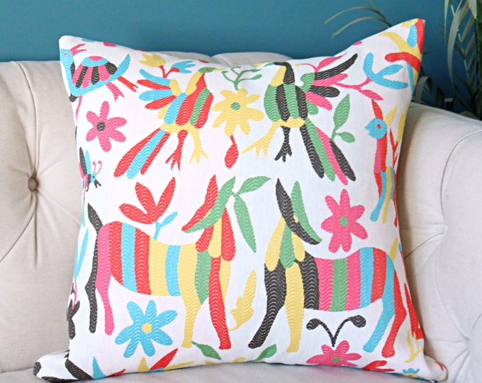 Otomi Pillow Cover - Colorful Home Decor -DOG Animal Version - Red Pink Yellow Aqua Blue Green Black and Off White Cushion