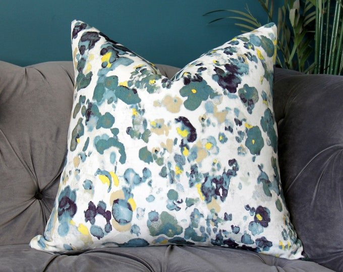 Romo Pillow Cover - Origami Rocketinos in Teal - Teal and Grey Velvet Pillow Cover