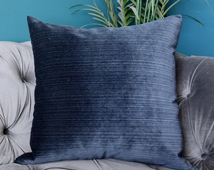 Blue Pillow - Navy Blue Striped Velvet Pillow Cover - Throw Pillow - Blue Velvet Pillow - Decorative Pillow Cover - Motif Pillows