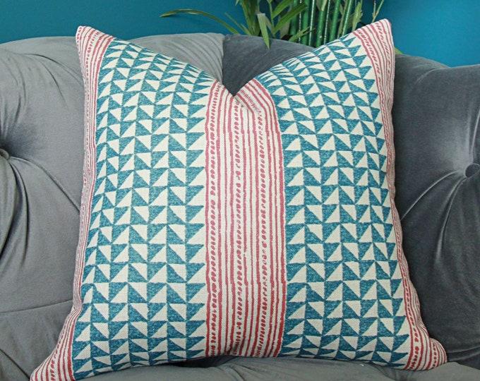 Carolina Irving Aegean Stripe Pillow Cover - Indigo Cinnamon
