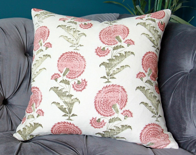 Michael S. Smith Indian Flower Pillow Cover Color: Pink & Green - Colorway Pink reads Red
