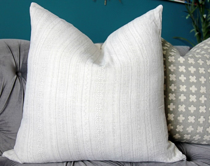 Light Gray Hmong Pillow Cover - Ash Grey Stripe Block Print - Boho Pillow Cover - Gray and IVORY Decor
