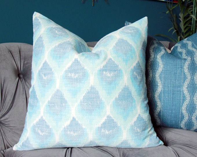 Schumacher Blue Ikat Pillow Cover - Blush Pink Pillow Cover - Veere Greeney Collection - English Printed Romantic Home Decor