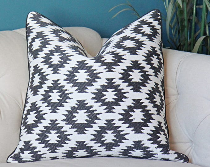 Sale - 25.00 Black and Off White Pillow Cover - Geometric Throw - Modern Black Aztec Pillow - Black Home Decor