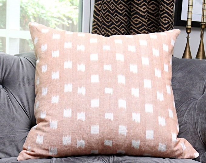 Peachy Pink and White Ikat Dot Pillow - Modern Geometric Woven Peach Pillow Cover -  Designer Peach/Blush - IIkat
