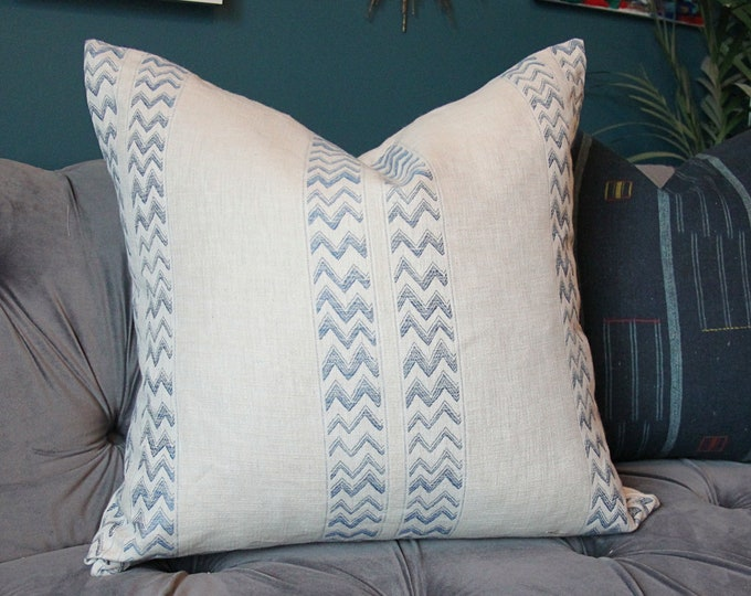 Schumacher Pillow Cover -Kudu Stripe in Blue - Blue and Ivory Chevron Zig Zag pillow cover NOT WHITE