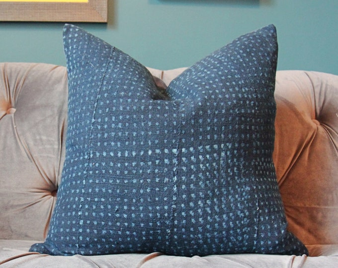 Authentic Mudcolth Pillow Cover - Inigo blue block print - Dark Blue