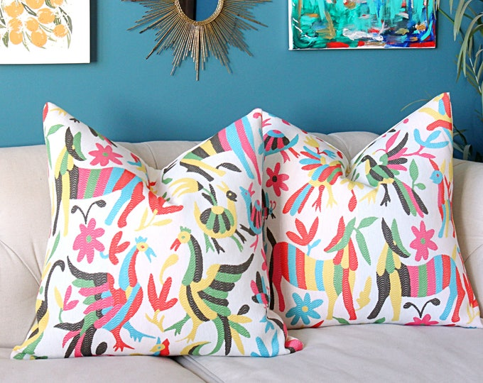 Otomi Pillow Cover - Colorful Home Decor -Bird Animal Version - Red Pink Yellow Aqua Blue Green Black and Off White Cushion