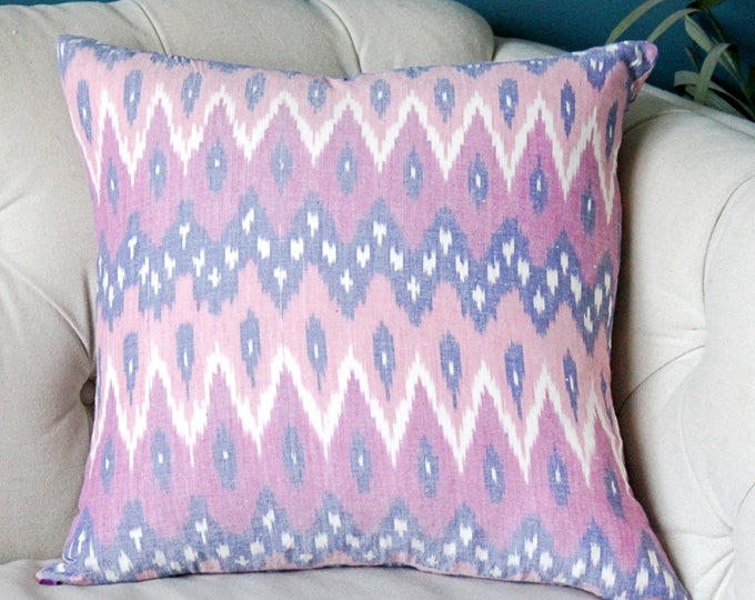 Pink Ikat Pillow Cover -Kufri Life Modern Geometric Pink Blue - Light Pink Dark Pink Indigo Blue Ikat - Hand Dyed