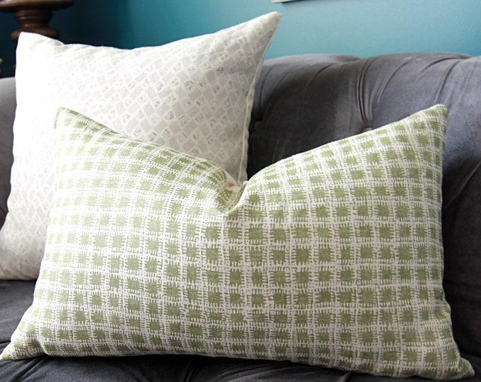 Brook Perdigon - Agave Green Pillow Cover - Celery Green Linen Pillow Cover - Motif Pillows