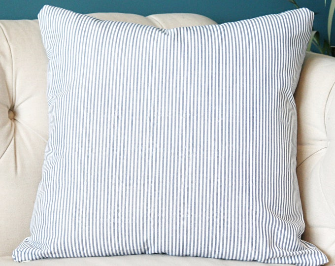Sale 25.00 - Blue and White Stripe Pillow Covers - Blue Pillow Cover - Ticking Stripe