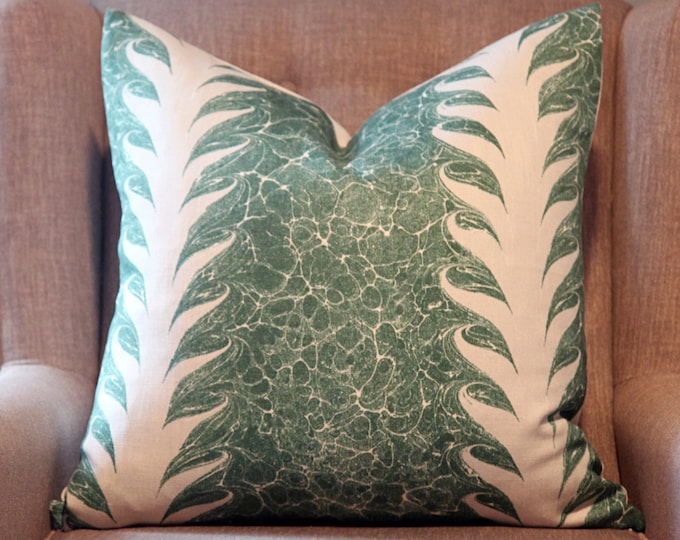 Beata Heuman, Palm Drop in Sea Green / Chalk Pillow Cover